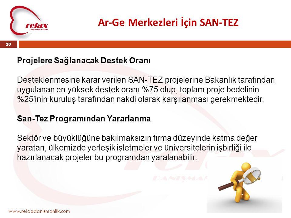Ar-Ge Merkezleri İçin SAN-TEZ www.relaxdanismanlik.com 20 Projelere Sağlanacak Destek Oranı Desteklenmesine karar verilen SAN-TEZ projelerine Bakanlık