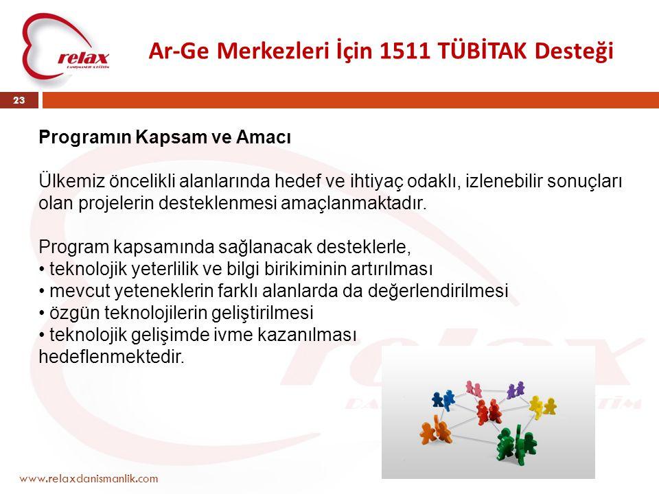 Ar-Ge Merkezleri İçin 1511 TÜBİTAK Desteği www.relaxdanismanlik.com 23 Programın Kapsam ve Amacı Ülkemiz öncelikli alanlarında hedef ve ihtiyaç odaklı
