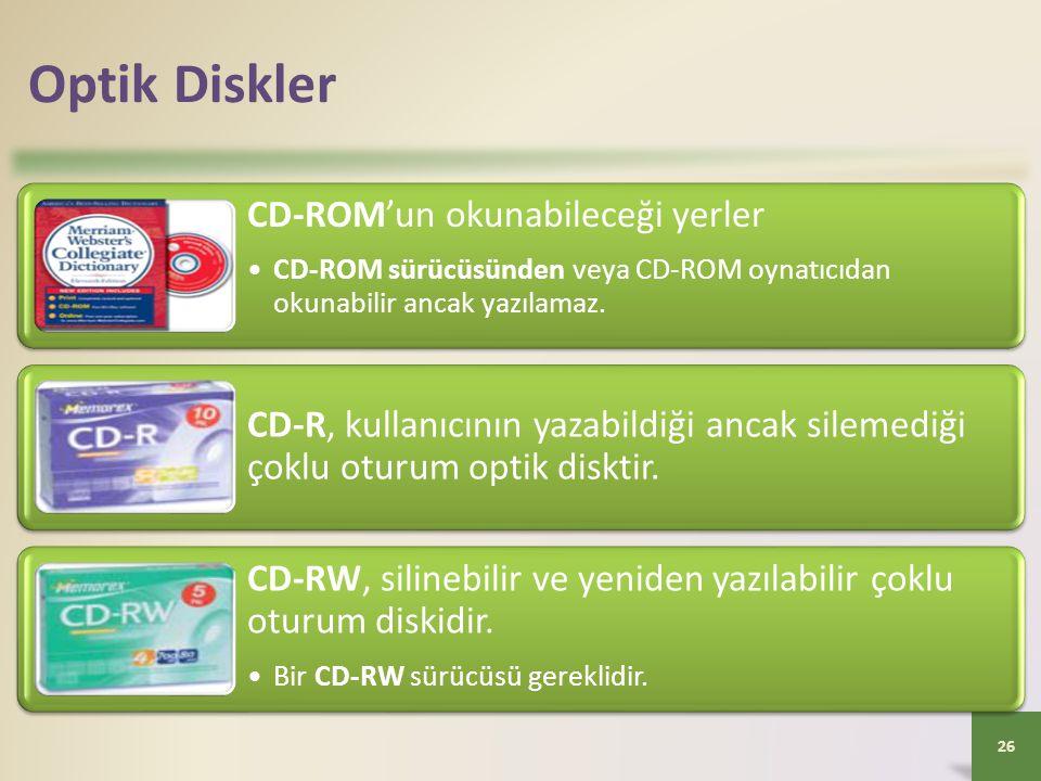 Optik Diskler CD-ROM'un okunabileceği yerler •CD-ROM sürücüsünden veya CD-ROM oynatıcıdan okunabilir ancak yazılamaz. CD-R, kullanıcının yazabildiği a