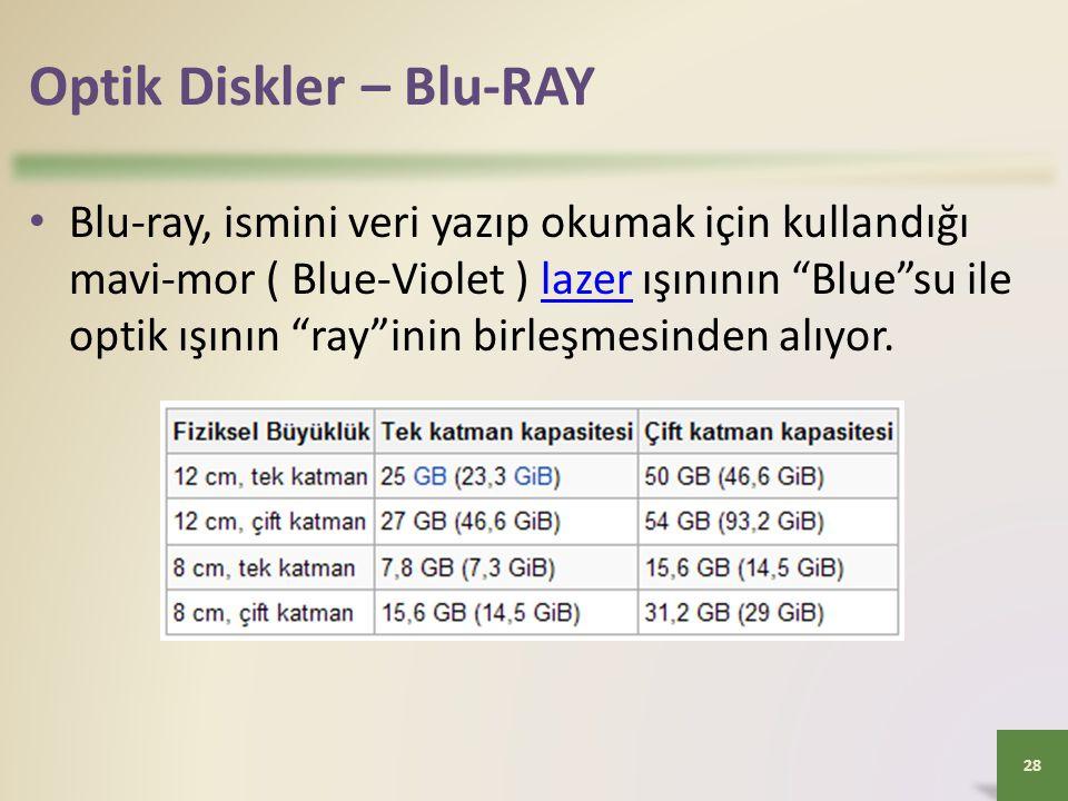 """Optik Diskler – Blu-RAY 28 • Blu-ray, ismini veri yazıp okumak için kullandığı mavi-mor ( Blue-Violet ) lazer ışınının """"Blue""""su ile optik ışının """"ray"""""""