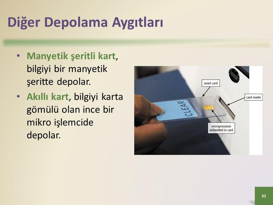 Diğer Depolama Aygıtları • Manyetik şeritli kart, bilgiyi bir manyetik şeritte depolar. • Akıllı kart, bilgiyi karta gömülü olan ince bir mikro işlemc