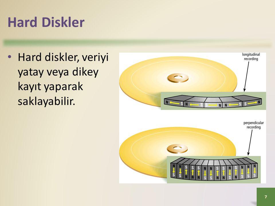 Hard Diskler • Hard diskler, veriyi yatay veya dikey kayıt yaparak saklayabilir. 7