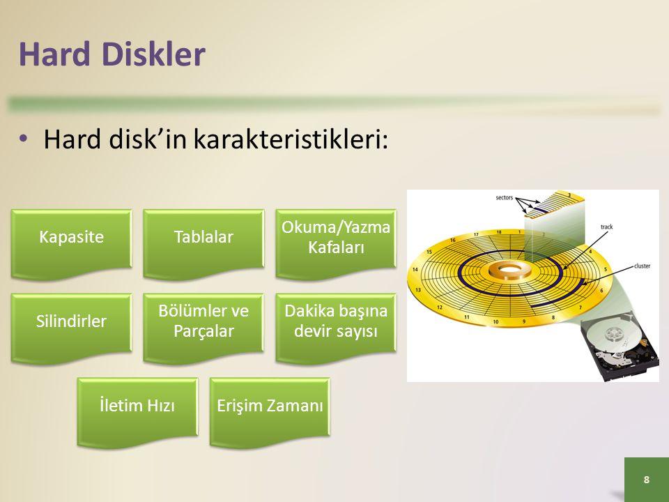 Hard Diskler • Hard disk'in karakteristikleri: 8 KapasiteTablalar Okuma/Yazm a Kafaları Silindirler Bölümler ve Parçalar Dakika başına devir sayısı İl