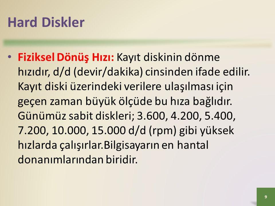 Hard Diskler • Fiziksel Dönüş Hızı: Kayıt diskinin dönme hızıdır, d/d (devir/dakika) cinsinden ifade edilir. Kayıt diski üzerindeki verilere ulaşılmas