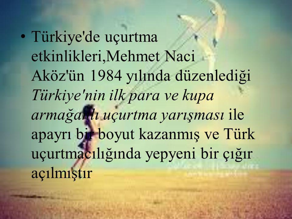 • Türkiye'de uçurtma etkinlikleri,Mehmet Naci Aköz'ün 1984 yılında düzenlediği Türkiye'nin ilk para ve kupa armağanlı uçurtma yarışması ile apayrı bir