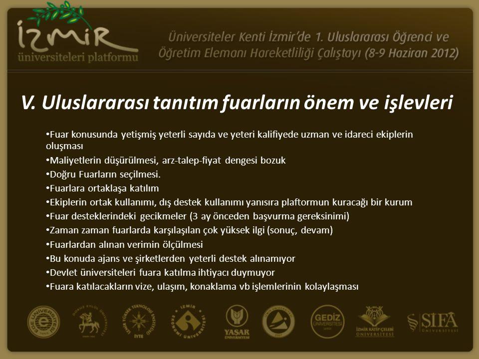 V. Uluslararası tanıtım fuarların önem ve işlevleri • Fuar konusunda yetişmiş yeterli sayıda ve yeteri kalifiyede uzman ve idareci ekiplerin oluşması