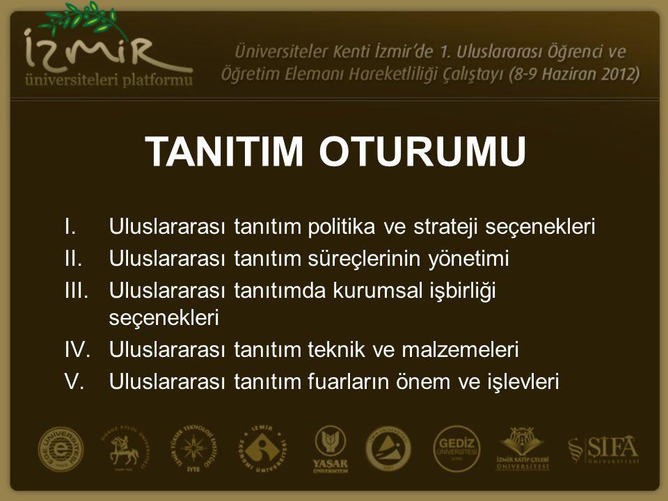 TANITIM OTURUMU I.Uluslararası tanıtım politika ve strateji seçenekleri II.Uluslararası tanıtım süreçlerinin yönetimi III.Uluslararası tanıtımda kurum