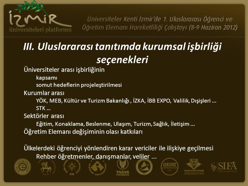 III. Uluslararası tanıtımda kurumsal işbirliği seçenekleri Üniversiteler arası işbirliğinin kapsamı somut hedeflerin projeleştirilmesi Kurumlar arası