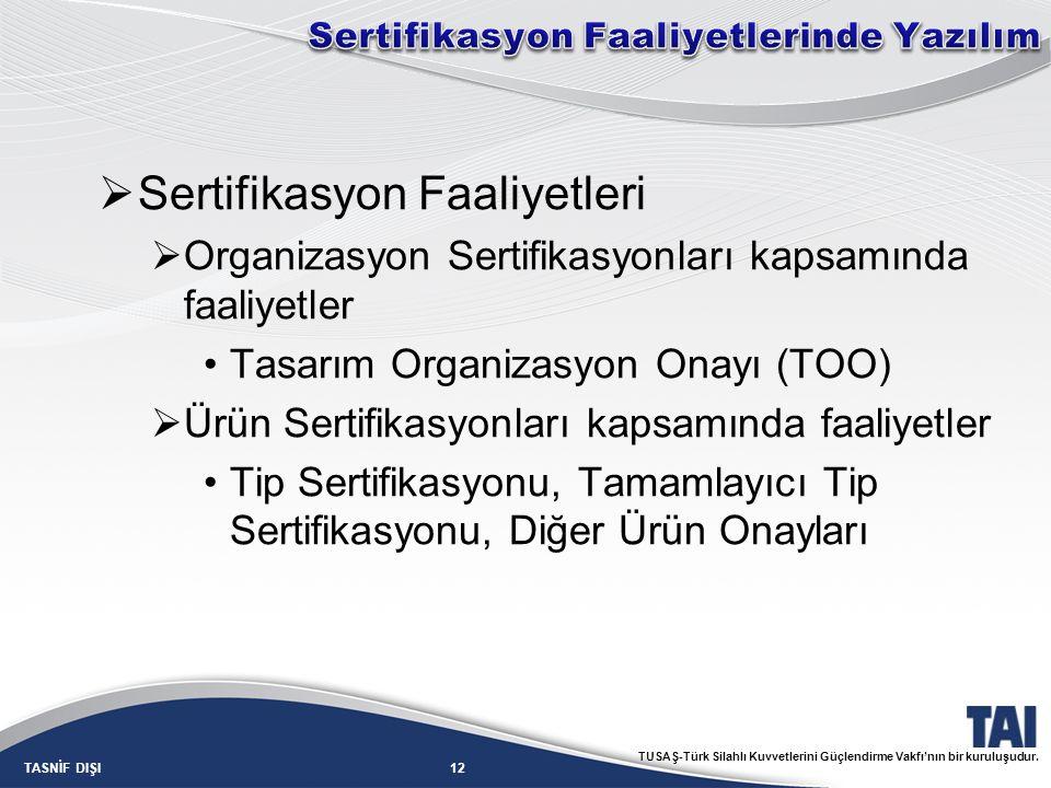 12TASNİF DIŞI TUSAŞ-Türk Silahlı Kuvvetlerini Güçlendirme Vakfı'nın bir kuruluşudur.  Sertifikasyon Faaliyetleri  Organizasyon Sertifikasyonları kap