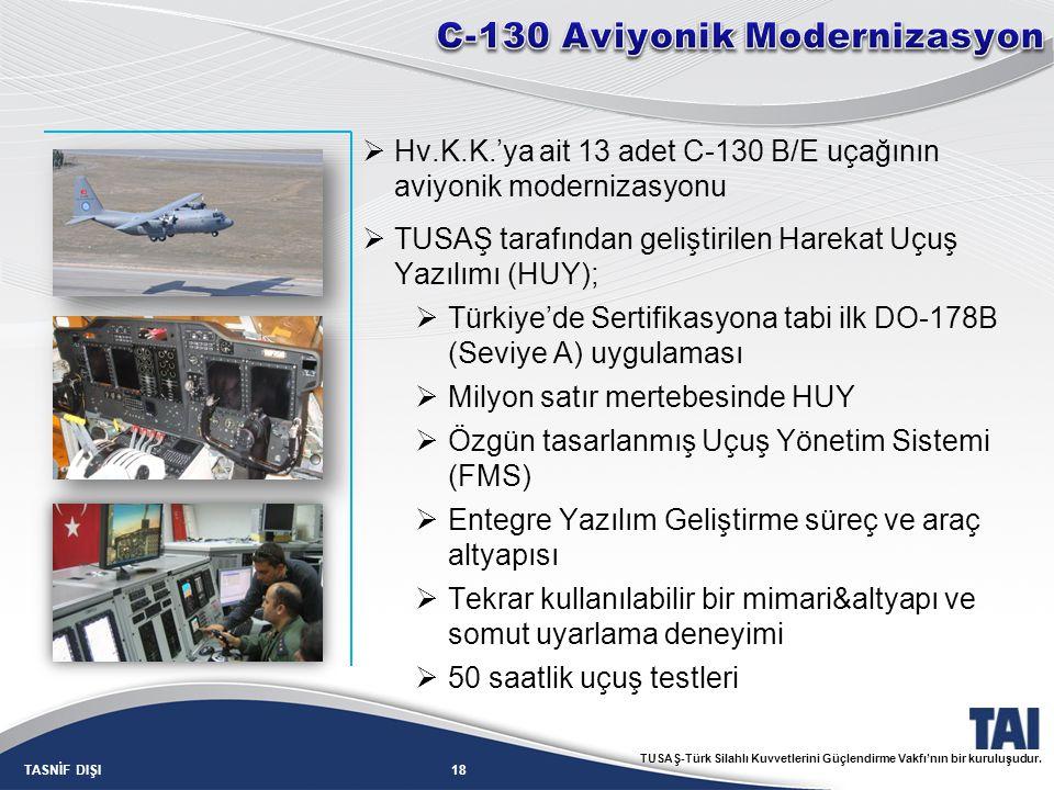 18TASNİF DIŞI TUSAŞ-Türk Silahlı Kuvvetlerini Güçlendirme Vakfı'nın bir kuruluşudur.  Hv.K.K.'ya ait 13 adet C-130 B/E uçağının aviyonik modernizasyo