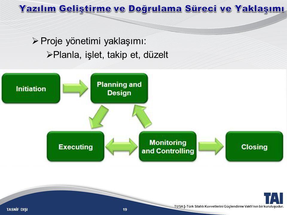 19TASNİF DIŞI TUSAŞ-Türk Silahlı Kuvvetlerini Güçlendirme Vakfı'nın bir kuruluşudur.  Proje yönetimi yaklaşımı:  Planla, işlet, takip et, düzelt