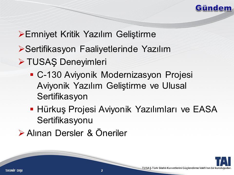 2TASNİF DIŞI TUSAŞ-Türk Silahlı Kuvvetlerini Güçlendirme Vakfı'nın bir kuruluşudur.  Emniyet Kritik Yazılım Geliştirme  Sertifikasyon Faaliyetlerind