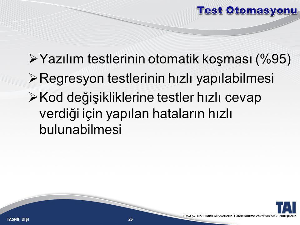 26TASNİF DIŞI TUSAŞ-Türk Silahlı Kuvvetlerini Güçlendirme Vakfı'nın bir kuruluşudur.  Yazılım testlerinin otomatik koşması (%95)  Regresyon testleri