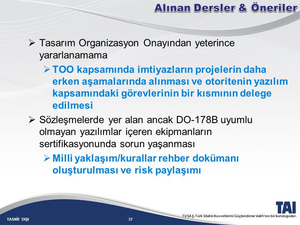 37TASNİF DIŞI TUSAŞ-Türk Silahlı Kuvvetlerini Güçlendirme Vakfı'nın bir kuruluşudur.  Tasarım Organizasyon Onayından yeterince yararlanamama  TOO ka