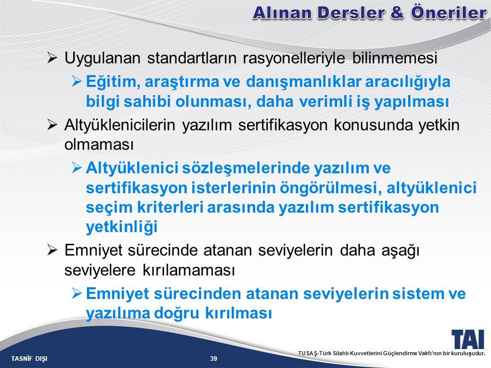39TASNİF DIŞI TUSAŞ-Türk Silahlı Kuvvetlerini Güçlendirme Vakfı'nın bir kuruluşudur.  Uygulanan standartların rasyonelleriyle bilinmemesi  Eğitim, a