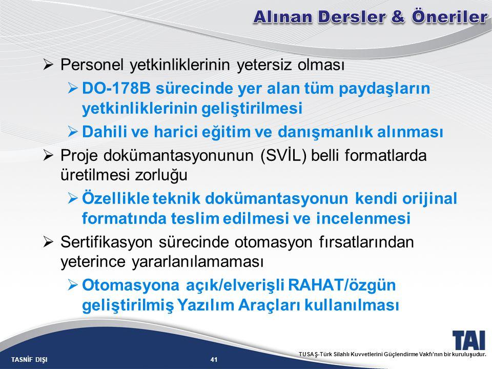 41TASNİF DIŞI TUSAŞ-Türk Silahlı Kuvvetlerini Güçlendirme Vakfı'nın bir kuruluşudur.  Personel yetkinliklerinin yetersiz olması  DO-178B sürecinde y