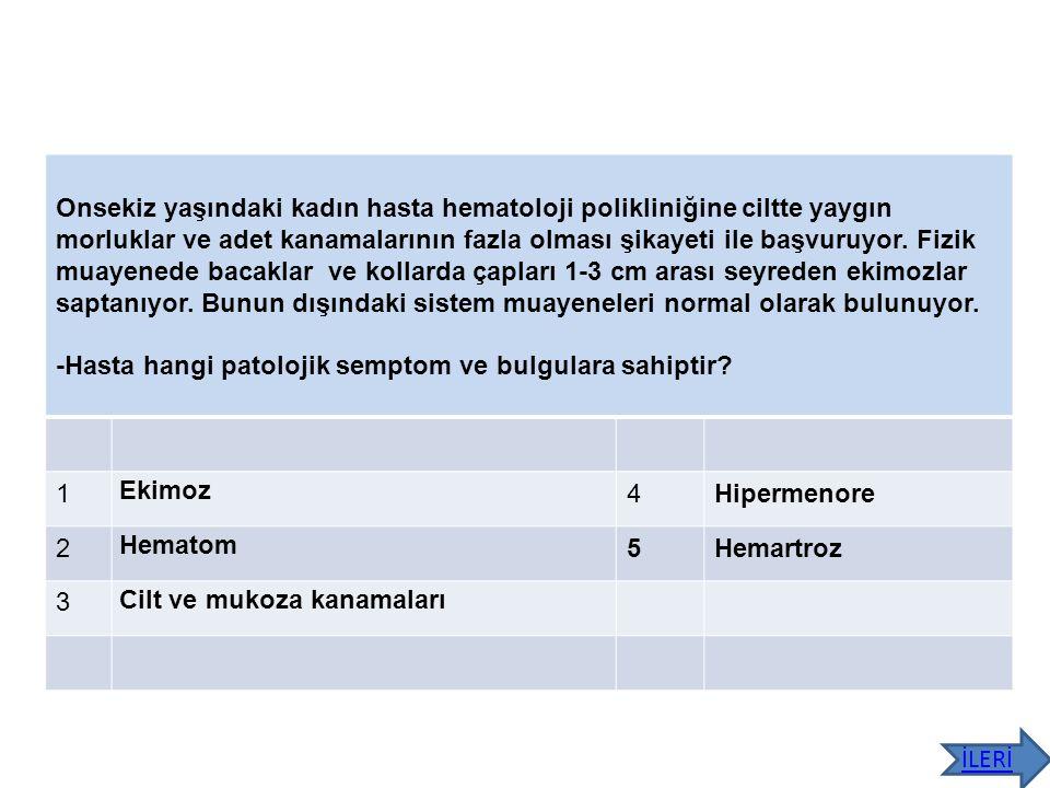 Yapılan tetkiklerde Hgb:9.8 g/dl, nötrofil 4300/mm 3, trombosit:167 bin, albumin 2.1g/dl, ALT 21, AST 25, saptanıyor.