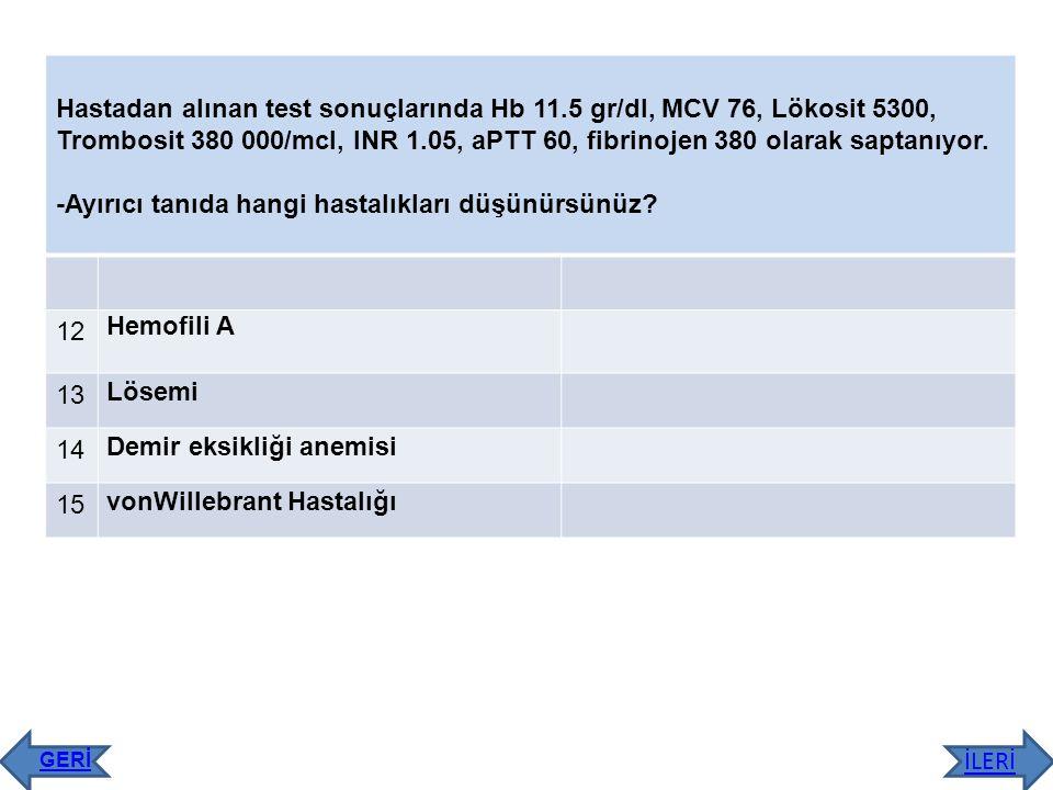 Hastadan alınan test sonuçlarında Hb 11.5 gr/dl, MCV 76, Lökosit 5300, Trombosit 380 000/mcl, INR 1.05, aPTT 60, fibrinojen 380 olarak saptanıyor. -Ay