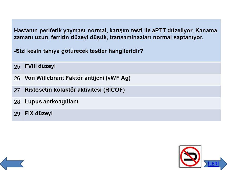 Hastanın Faktör VIII düzeyi %35, vWF Ag %10, RiCOF aktivitesi düşük olarak saptanmıştır.