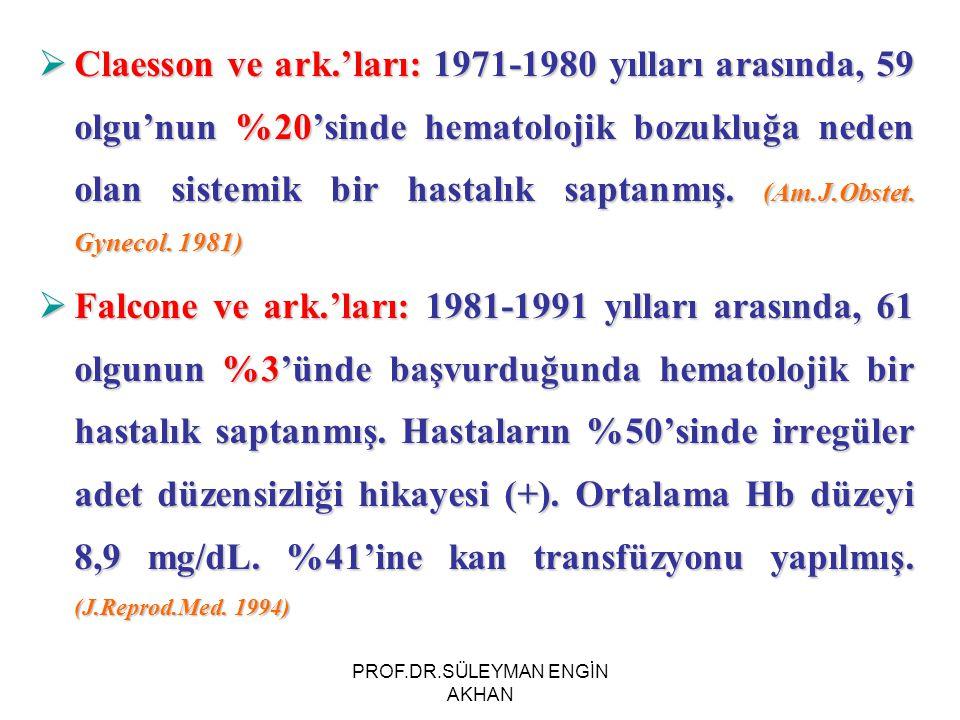  Claesson ve ark.'ları: 1971-1980 yılları arasında, 59 olgu'nun %20'sinde hematolojik bozukluğa neden olan sistemik bir hastalık saptanmış. (Am.J.Obs