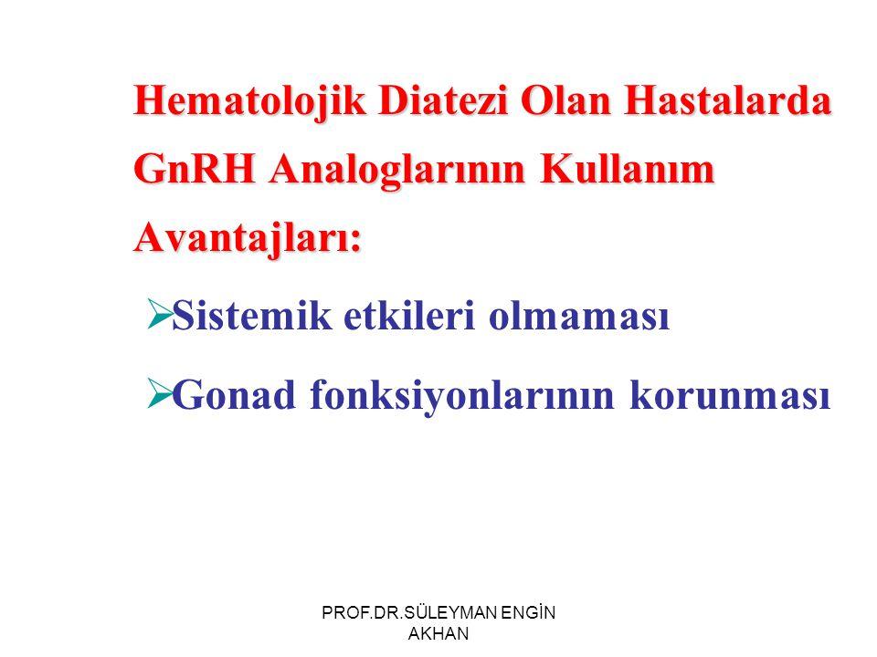 Hematolojik Diatezi Olan Hastalarda GnRH Analoglarının Kullanım Avantajları:  Sistemik etkileri olmaması  Gonad fonksiyonlarının korunması PROF.DR.S