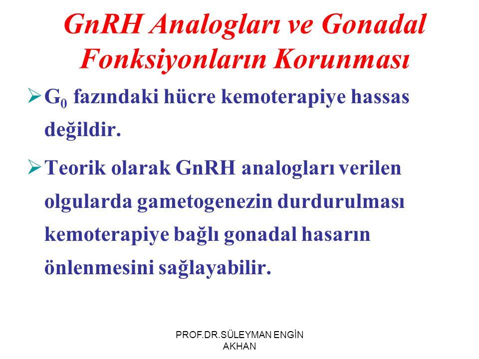 GnRH Analogları ve Gonadal Fonksiyonların Korunması  G 0 fazındaki hücre kemoterapiye hassas değildir.  Teorik olarak GnRH analogları verilen olgula