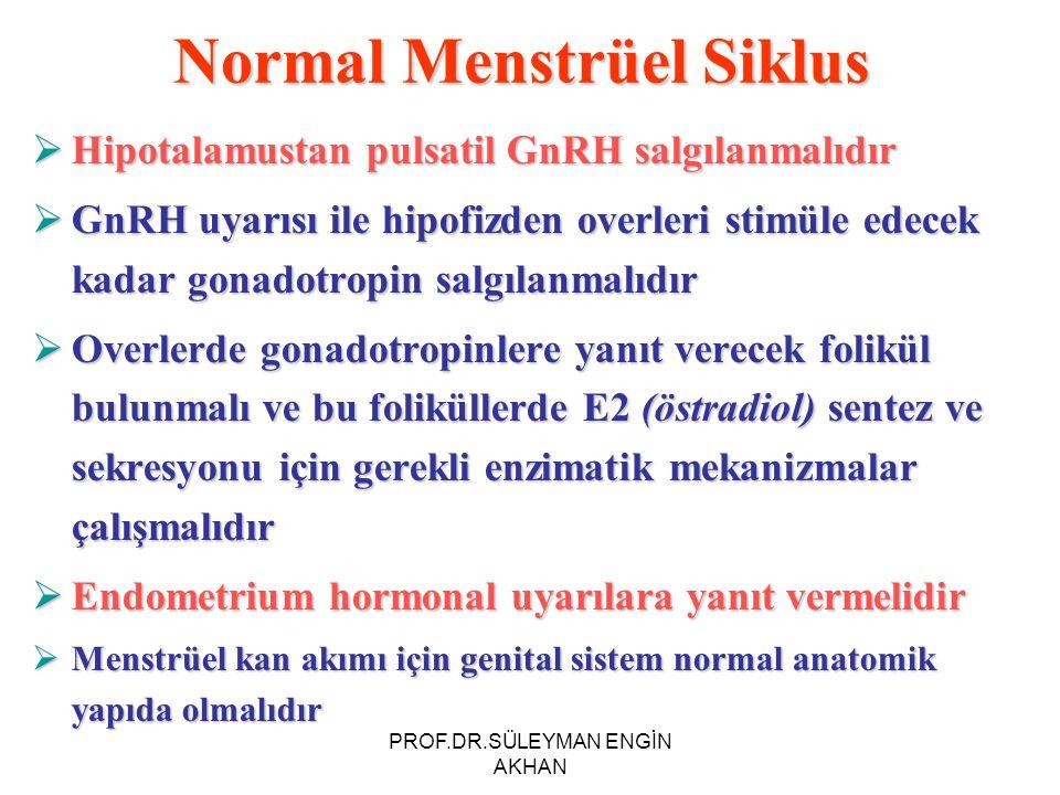 Normal Menstrüel Siklus  Hipotalamustan pulsatil GnRH salgılanmalıdır  GnRH uyarısı ile hipofizden overleri stimüle edecek kadar gonadotropin salgılanmalıdır  Overlerde gonadotropinlere yanıt verecek folikül bulunmalı ve bu foliküllerde E2 (östradiol) sentez ve sekresyonu için gerekli enzimatik mekanizmalar çalışmalıdır  Endometrium hormonal uyarılara yanıt vermelidir  Menstrüel kan akımı için genital sistem normal anatomik yapıda olmalıdır PROF.DR.SÜLEYMAN ENGİN AKHAN