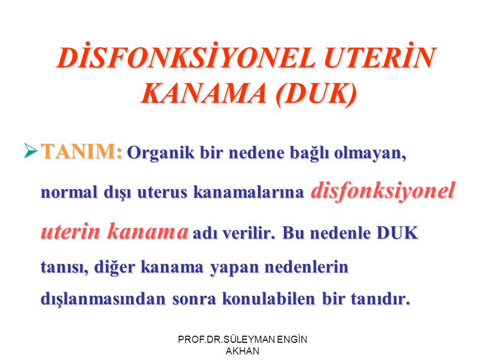 DİSFONKSİYONEL UTERİN KANAMA (DUK)  TANIM: Organik bir nedene bağlı olmayan, normal dışı uterus kanamalarına disfonksiyonel uterin kanama adı verilir