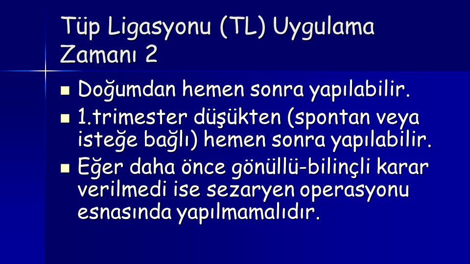 Tüp Ligasyonu (TL) Uygulama Zamanı 2  Doğumdan hemen sonra yapılabilir.  1.trimester düşükten (spontan veya isteğe bağlı) hemen sonra yapılabilir. 