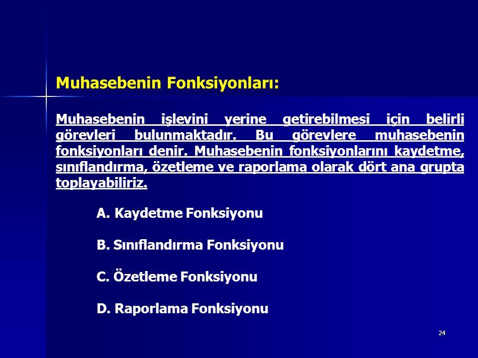 24 Muhasebenin işlevini yerine getirebilmesi için belirli görevleri bulunmaktadır. Bu görevlere muhasebenin fonksiyonları denir. Muhasebenin fonksiyon