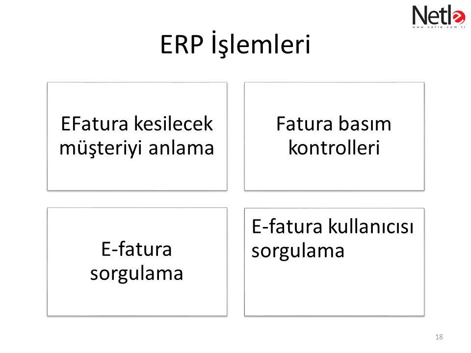 ERP İşlemleri EFatura kesilecek müşteriyi anlama Fatura basım kontrolleri E-fatura sorgulama E-fatura kullanıcısı sorgulama 18