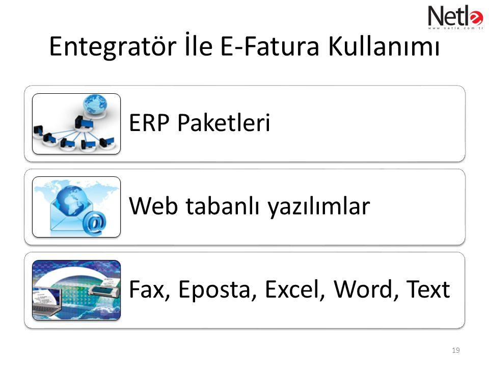 Entegratör İle E-Fatura Kullanımı ERP Paketleri Web tabanlı yazılımlar Fax, Eposta, Excel, Word, Text 19