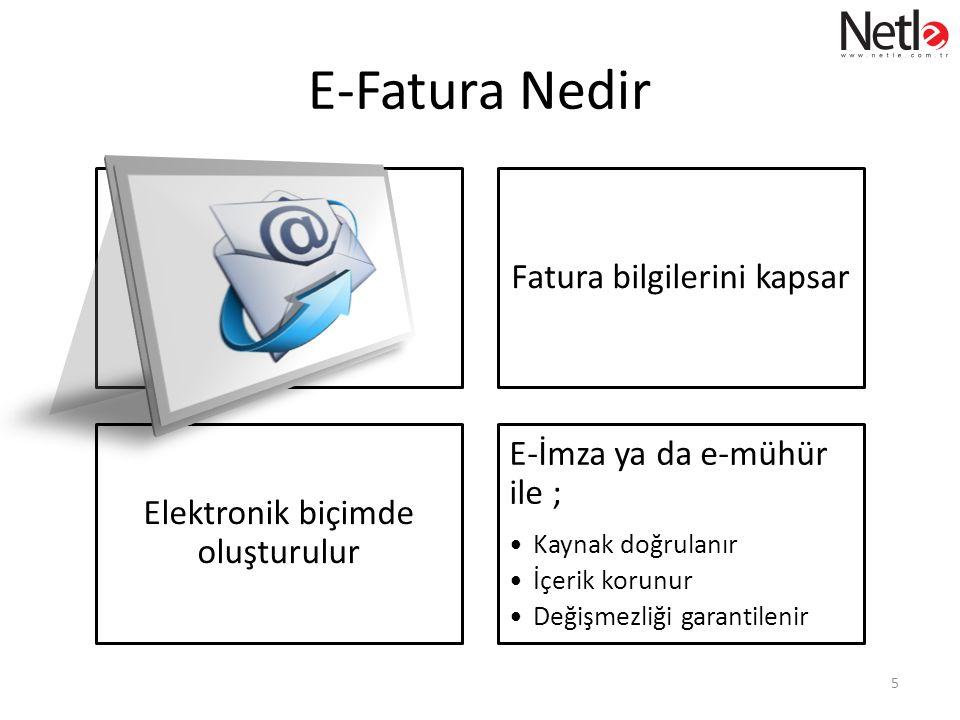 E-Fatura Nedir Fatura bilgilerini kapsar Elektronik biçimde oluşturulur E-İmza ya da e-mühür ile ; •Kaynak doğrulanır •İçerik korunur •Değişmezliği garantilenir 5