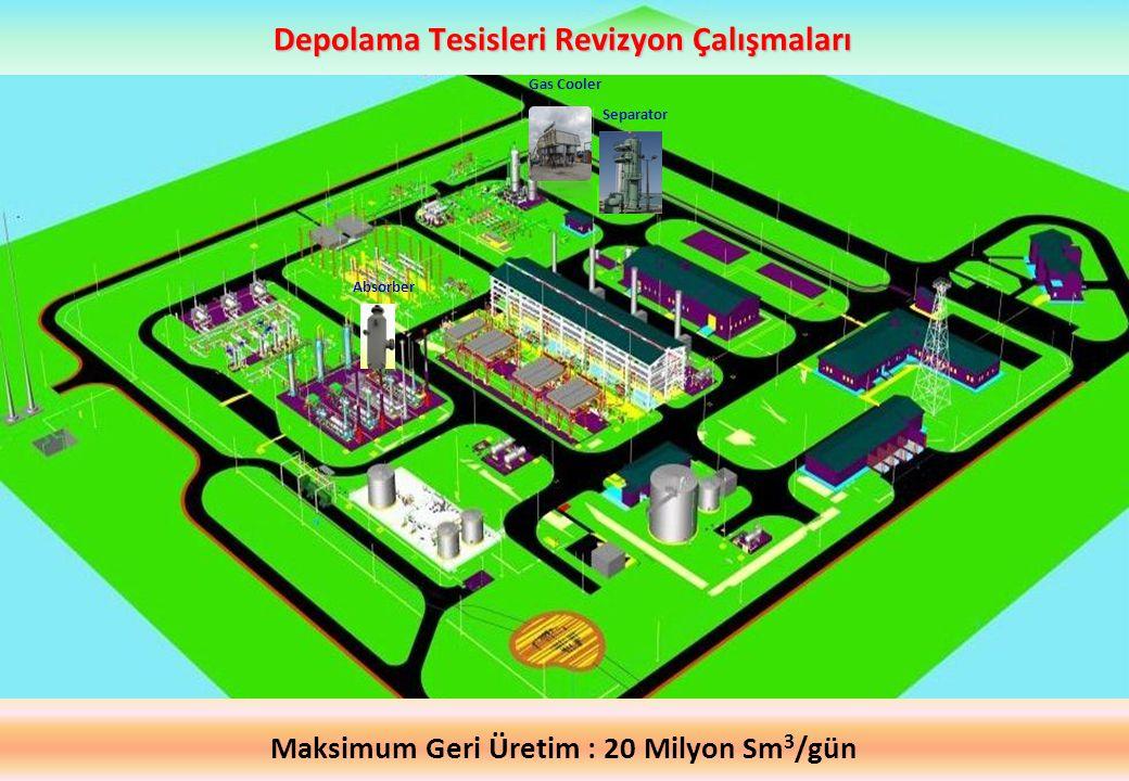 Gas Cooler Absorber Separator Depolama Tesisleri Revizyon Çalışmaları Maksimum Geri Üretim : 20 Milyon Sm 3 /gün