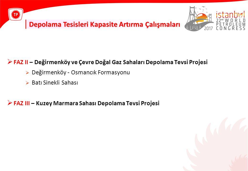 Depolama Tesisleri Kapasite Artırma Çalışmaları  FAZ II – Değirmenköy ve Çevre Doğal Gaz Sahaları Depolama Tevsi Projesi  Değirmenköy - Osmancık Formasyonu  Batı Sinekli Sahası  FAZ III – Kuzey Marmara Sahası Depolama Tevsi Projesi