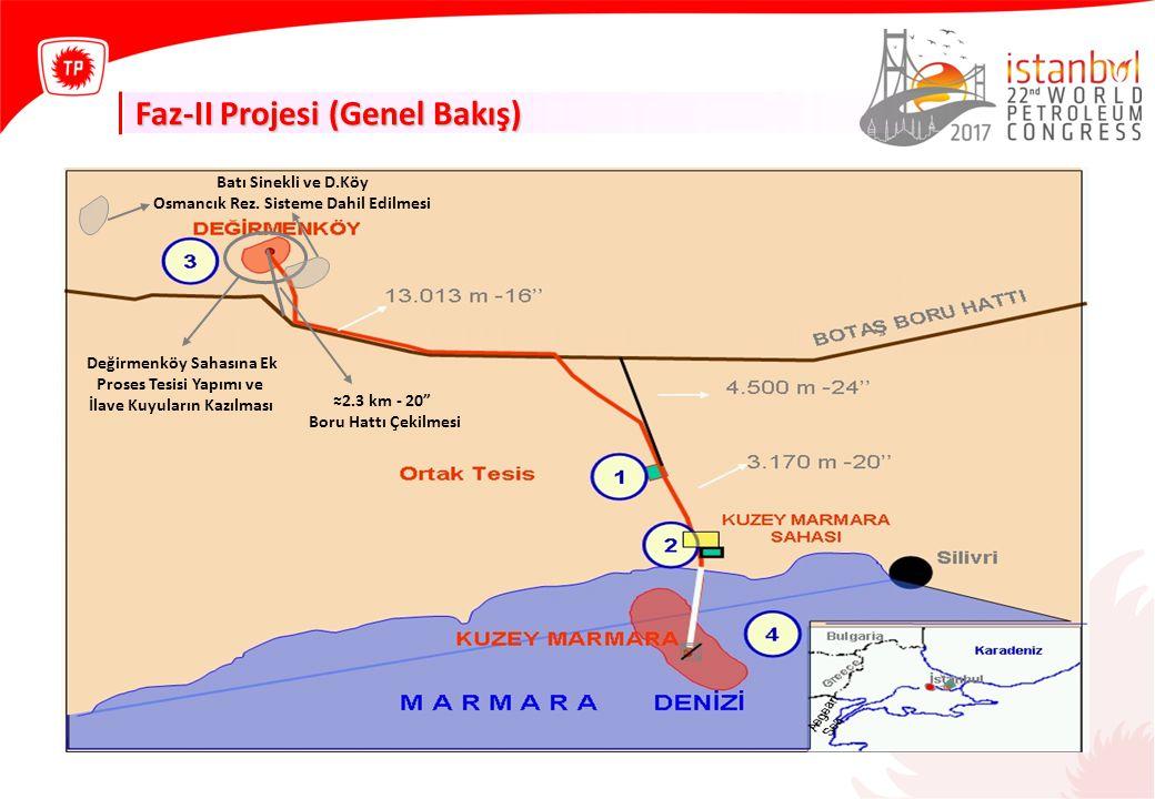 Faz-II Projesi (Genel Bakış) ≈2.3 km - 20 Boru Hattı Çekilmesi Değirmenköy Sahasına Ek Proses Tesisi Yapımı ve İlave Kuyuların Kazılması Batı Sinekli ve D.Köy Osmancık Rez.