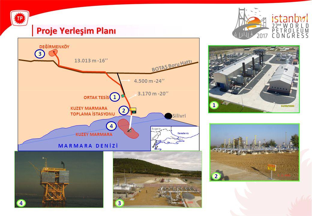 Proje Yerleşim Planı 3 1 2 4 DEĞİRMENKÖY Karadeniz BOTAŞ Boru Hattı Bulgaria Greece Aegean Sea ORTAK TESİS Silivri İstanbul KUZEY MARMARA M A R M A R A D E N İ Z İ KUZEY MARMARA TOPLAMA İSTASYONU 2 1 3 13.013 m -16'' 3.170 m -20'' 4.500 m -24'' 4