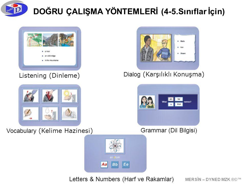 DOĞRU ÇALIŞMA YÖNTEMLERİ (4-5.Sınıflar İçin) Listening (Dinleme) Dialog (Karşılıklı Konuşma) Vocabulary (Kelime Hazinesi) Grammar (Dil Bilgisi) Letters & Numbers (Harf ve Rakamlar) MERSİN – DYNED MZK ®©™