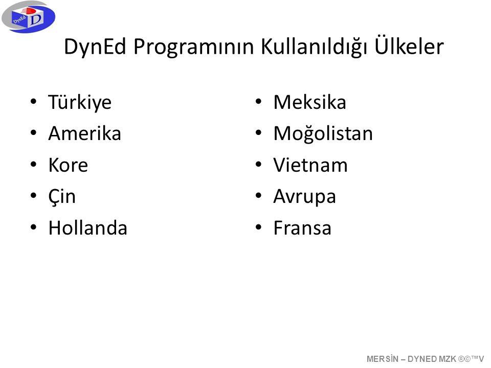 DynEd Programının Kullanıldığı Ülkeler • Türkiye • Amerika • Kore • Çin • Hollanda • Meksika • Moğolistan • Vietnam • Avrupa • Fransa MERSİN – DYNED MZK ®©™V
