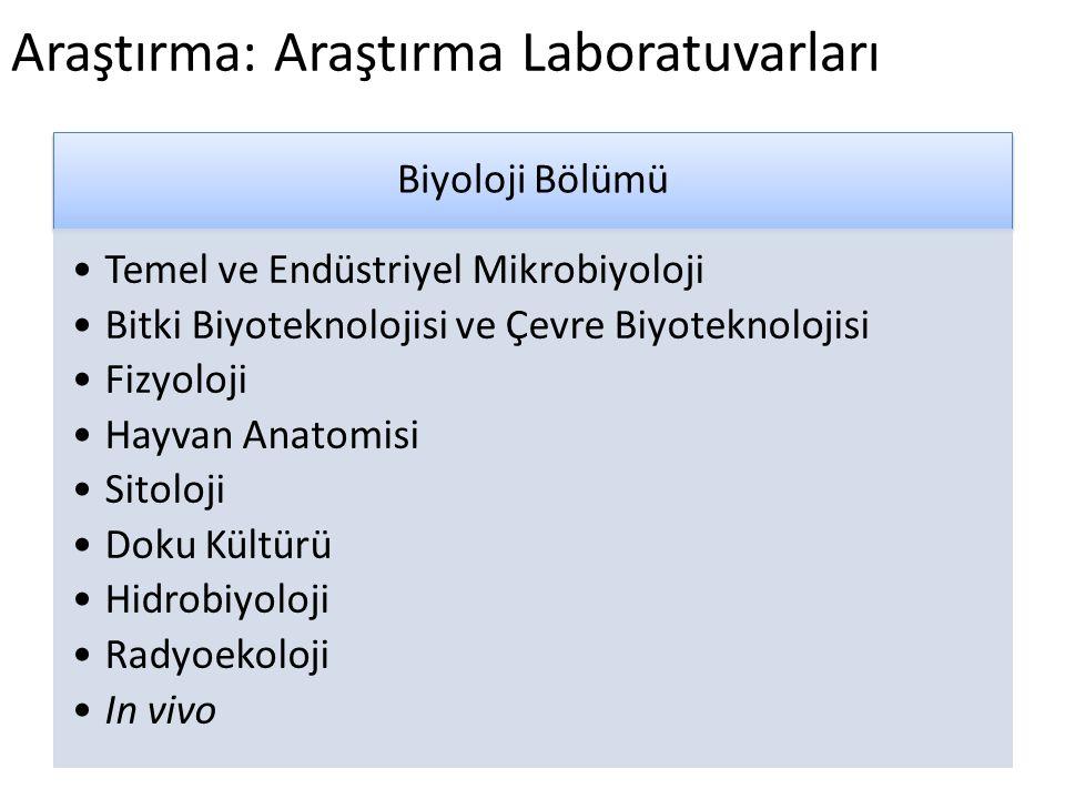 Araştırma: Araştırma Laboratuvarları Biyoloji Bölümü •Temel ve Endüstriyel Mikrobiyoloji •Bitki Biyoteknolojisi ve Çevre Biyoteknolojisi •Fizyoloji •H