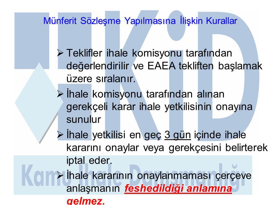 Münferit Sözleşme Yapılmasına İlişkin Kurallar  Teklifler ihale komisyonu tarafından değerlendirilir ve EAEA tekliften başlamak üzere sıralanır.  İh