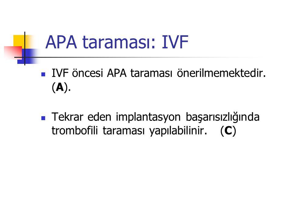 APA taraması: IVF  IVF öncesi APA taraması önerilmemektedir. (A).  Tekrar eden implantasyon başarısızlığında trombofili taraması yapılabilinir. (C)