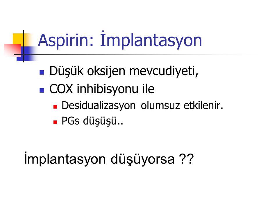 Aspirin: İmplantasyon  Düşük oksijen mevcudiyeti,  COX inhibisyonu ile  Desidualizasyon olumsuz etkilenir.  PGs düşüşü.. İmplantasyon düşüyorsa ??