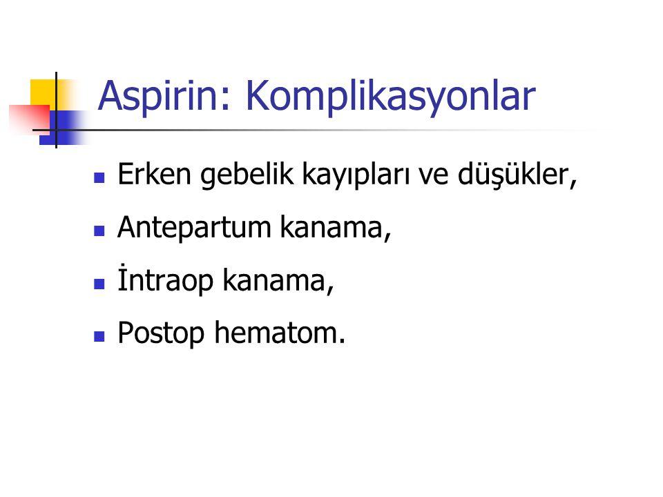 Aspirin: Komplikasyonlar  Erken gebelik kayıpları ve düşükler,  Antepartum kanama,  İntraop kanama,  Postop hematom.