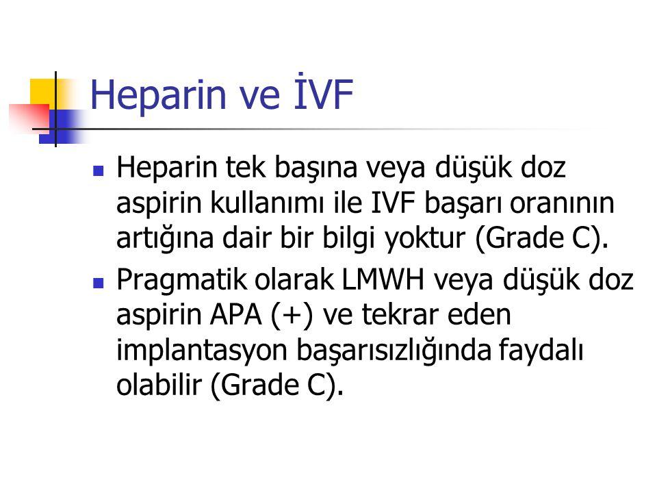 Heparin ve İVF  Heparin tek başına veya düşük doz aspirin kullanımı ile IVF başarı oranının artığına dair bir bilgi yoktur (Grade C).  Pragmatik ola