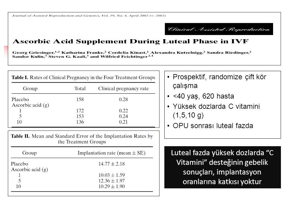 """Luteal fazda yüksek dozlarda """"C Vitamini"""" desteğinin gebelik sonuçları, implantasyon oranlarına katkısı yoktur •Prospektif, randomize çift kör çalışma"""