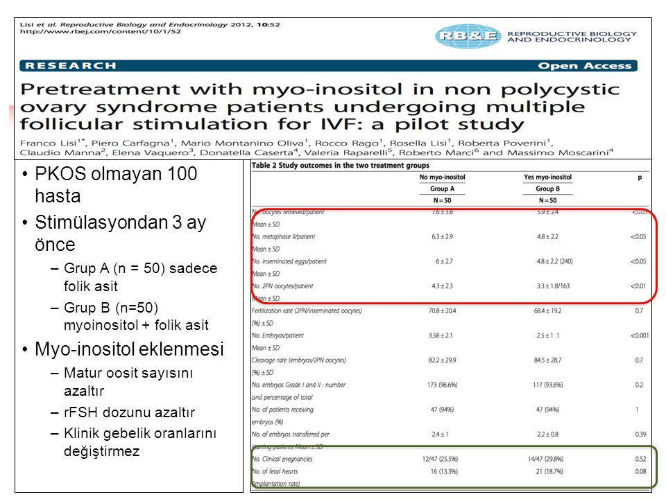 •PKOS olmayan 100 hasta •Stimülasyondan 3 ay önce –Grup A (n = 50) sadece folik asit –Grup B (n=50) myoinositol + folik asit •Myo-inositol eklenmesi –