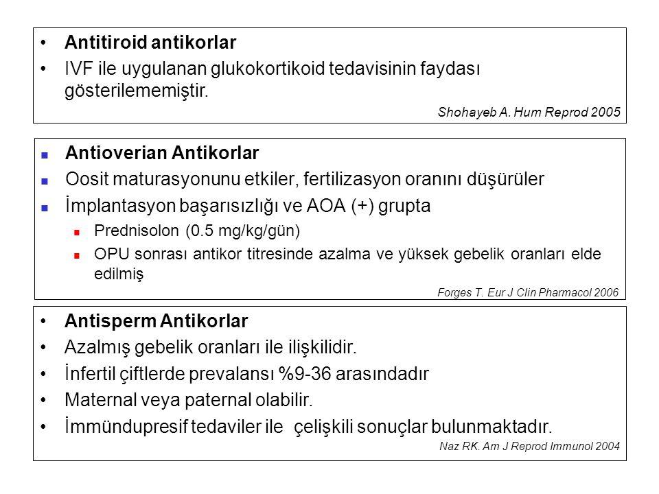  Antioverian Antikorlar  Oosit maturasyonunu etkiler, fertilizasyon oranını düşürüler  İmplantasyon başarısızlığı ve AOA (+) grupta  Prednisolon (