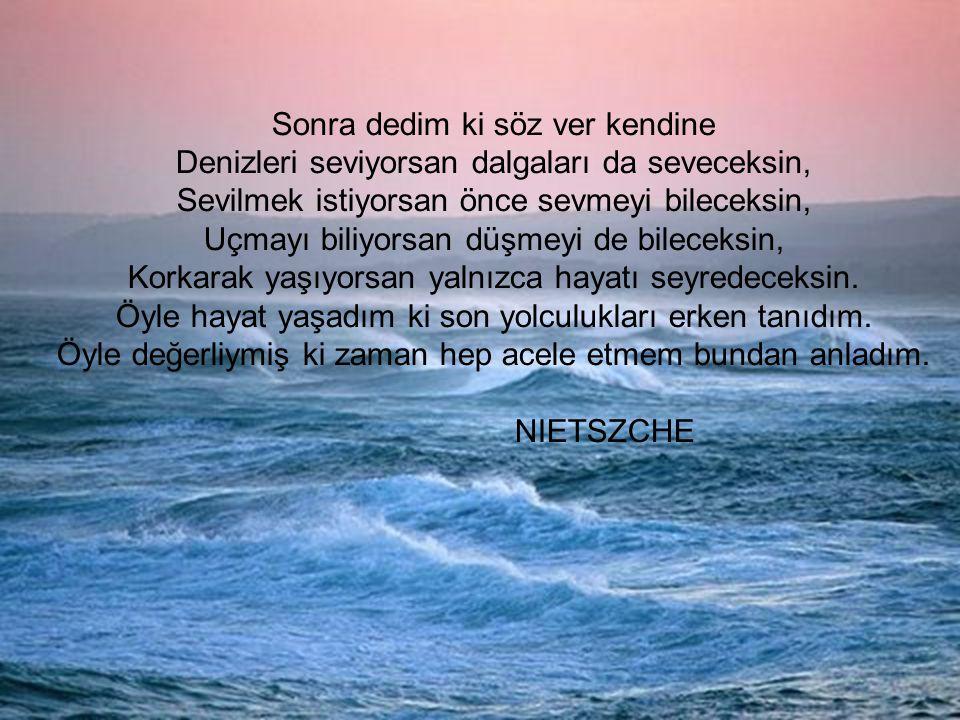 Sonra dedim ki söz ver kendine Denizleri seviyorsan dalgaları da seveceksin, Sevilmek istiyorsan önce sevmeyi bileceksin, Uçmayı biliyorsan düşmeyi de bileceksin, Korkarak yaşıyorsan yalnızca hayatı seyredeceksin.