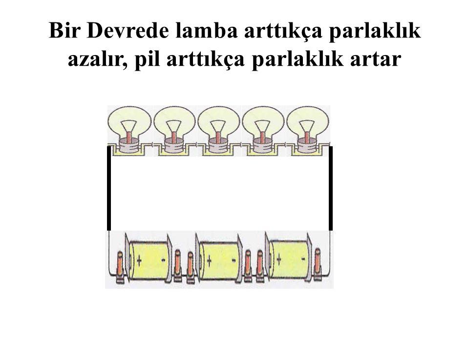 Bir Devrede lamba arttıkça parlaklık azalır, pil arttıkça parlaklık artar